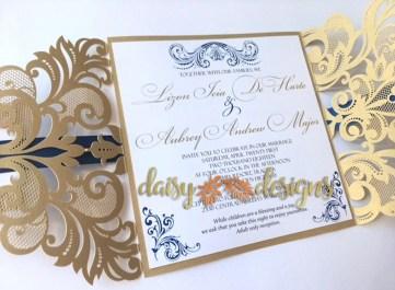 Elegant Gold laser-cut invite open