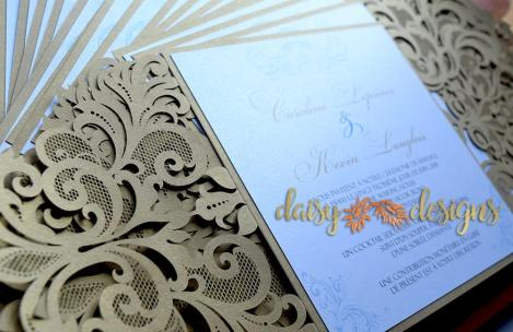 Gold Laser Cut invites details