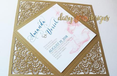 Smokey Blush on Gold Laser-cut background