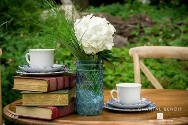 Kate and Justin Wedding tea set on table with books and flowers