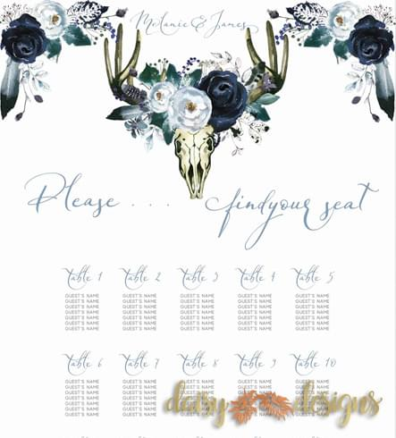 Boho Blooms Seating Chart Details
