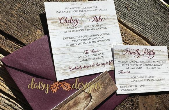Burgundy Barn invite and rsvp
