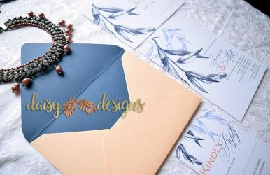 Willow Navy Blush envelope liner
