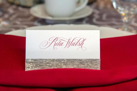 Scarlet and Silver place card