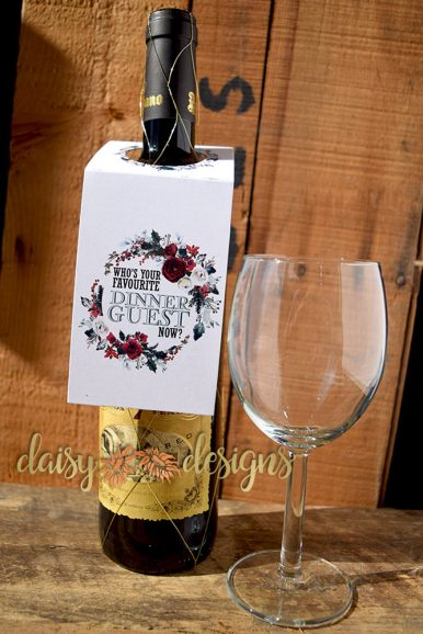 Holiday Favourite Dinner Guest wine bottle tags