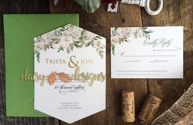 White Roses and Sage invite and rsvp