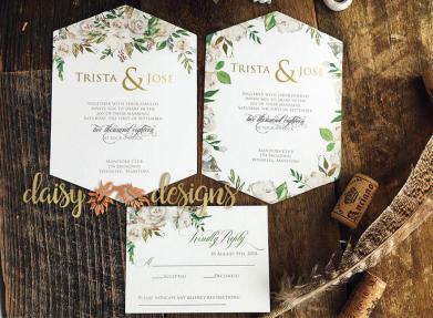 White Roses and Sage hexagonal invites and rsvp