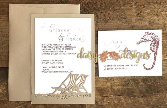 Beach Chairs laser cut invitations