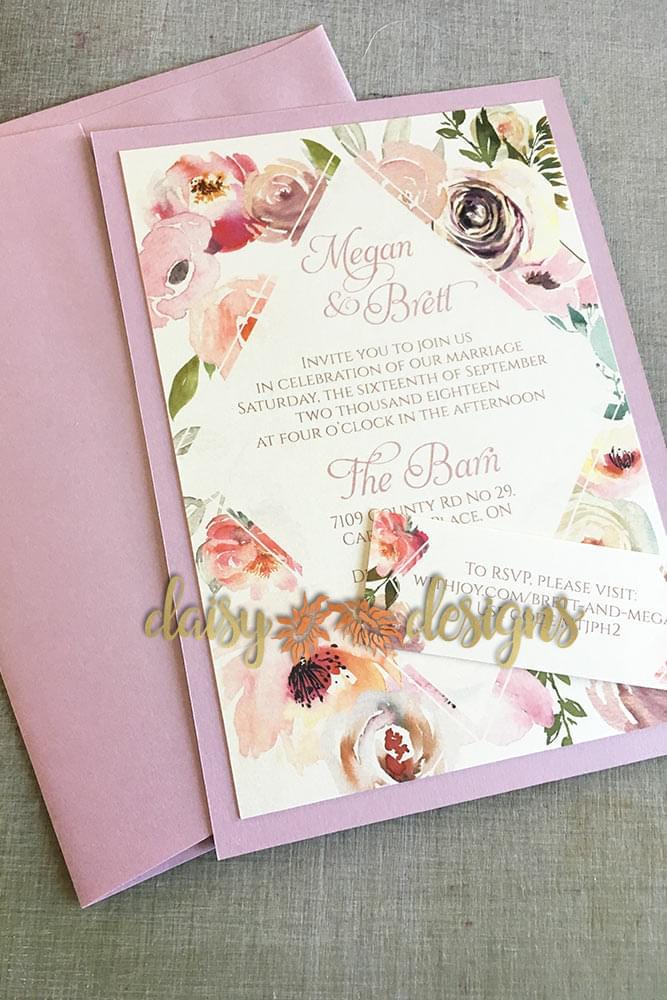 Blush Rose invite and RSVP