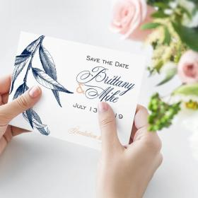 Willow Save-The-Date card in Navy-Blush