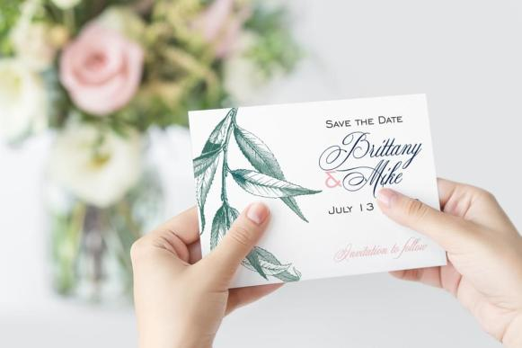 Willow Save-The-Date card in Sage