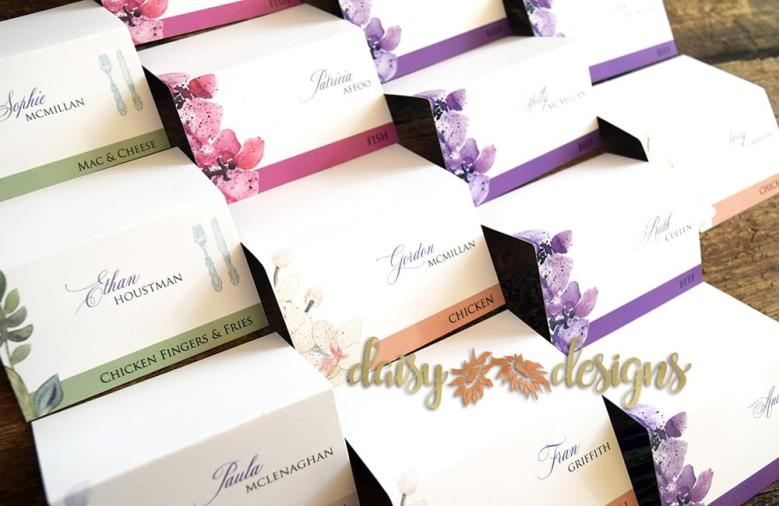 Orchids seating cards folded