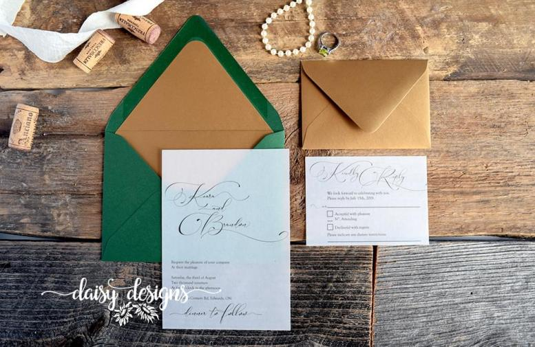 Simply Sophia invite on vellum with green envelope and gold liner and gold rsvp envelope