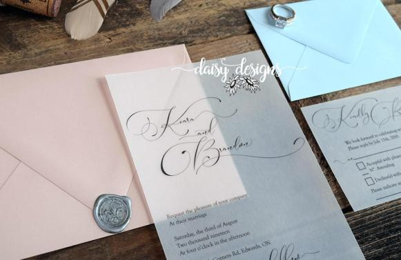 Simply Sophia invite on vellum with blush invite envelope and blue rsvp envelope