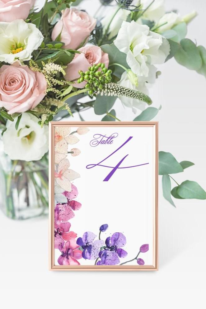 Orchids table number