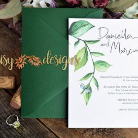 Dragonfly and Vine invite and envelope