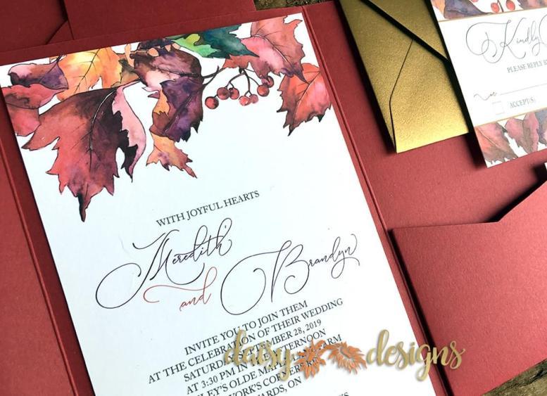 Watercolour Autumn Leaves - closeup of invite
