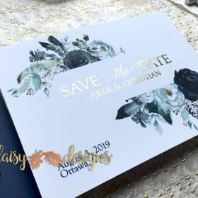Foil Navy Save-the-date closeup