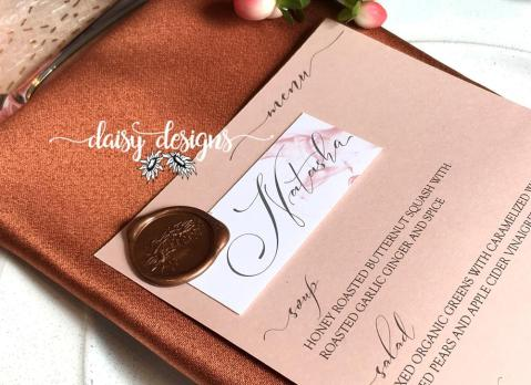 Dusty Rose Grey Feather menu and wax seal