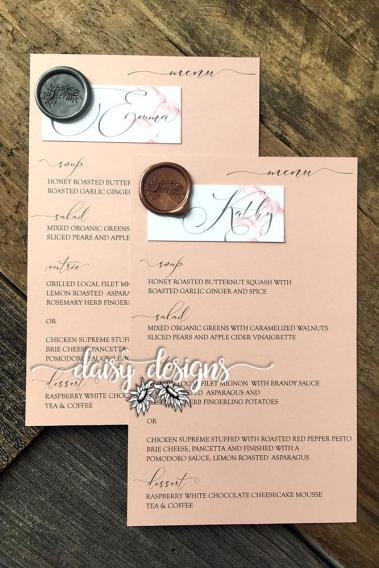 Grey Feather personal menus