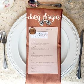 Dusty Rose Grey Feather personal menu