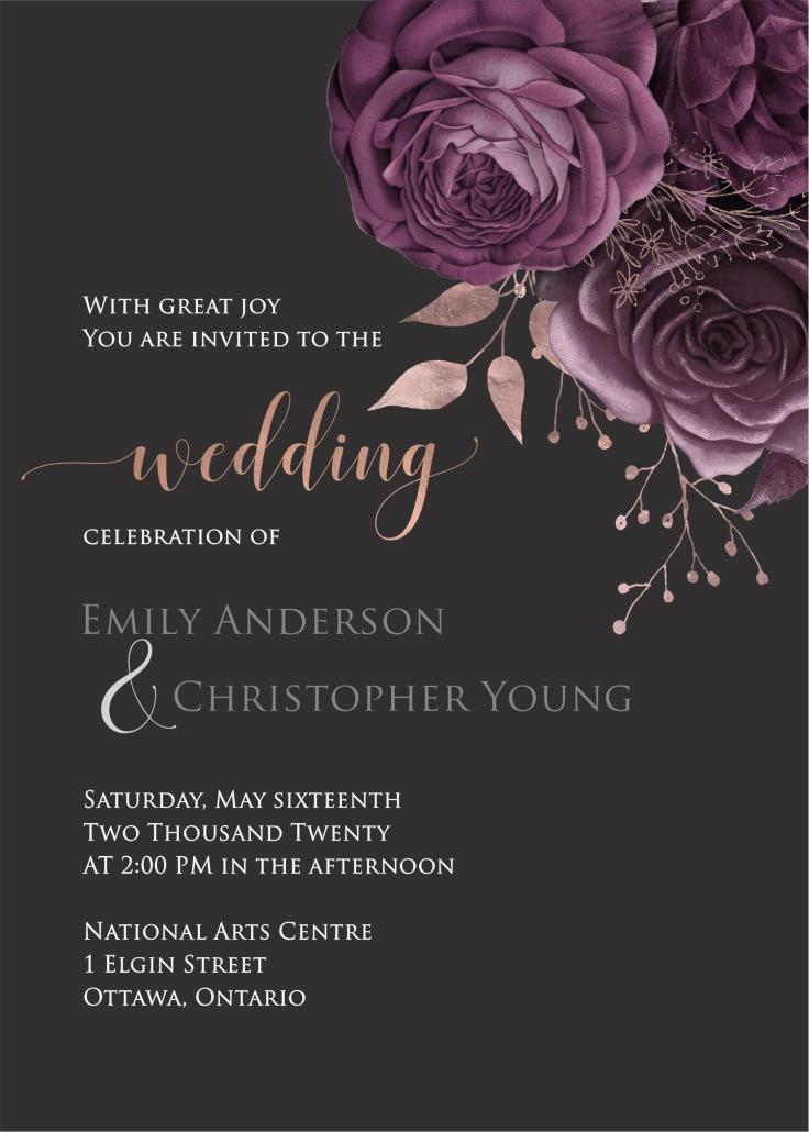 Moody Mauve Roses invite