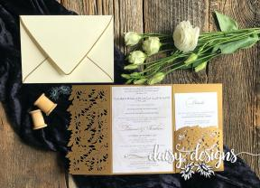 Marble and Gold laser cut invite
