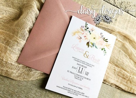 Antique Rose invite and envelope