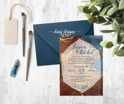 Navy Gold Marble invite and blue envelope