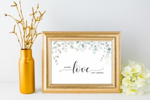 Watercolour Eucalyptus sign - share love not germs