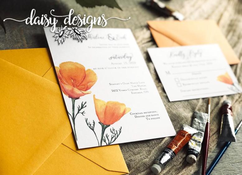 California Poppy - invite, rsvp and envelopes