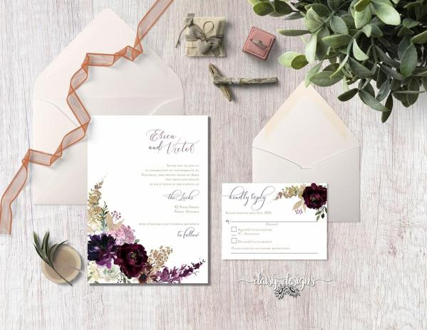 DIY Printable - Deep Burgundy Florals - suite with invite, rsvp and envelopes