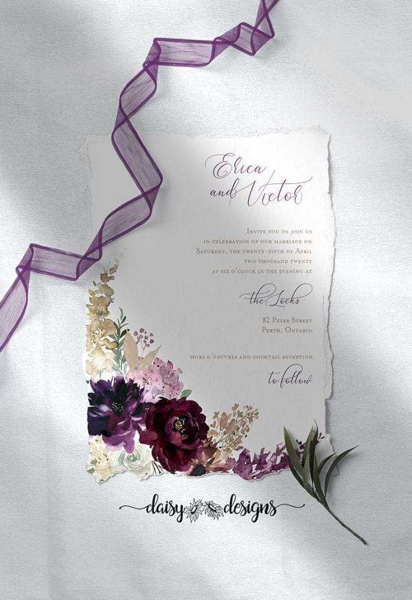 DIY Printable - Deep Burgundy Florals - invite with torn edges and purple ribbon