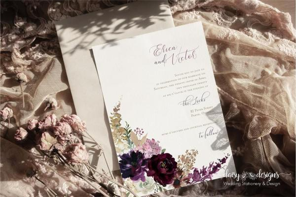 DIY Printable - Deep Burgundy Florals - invite with light envelope and dried flowers