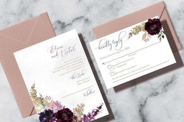 DIY Printable - Deep Burgundy Florals - invite and rsvp