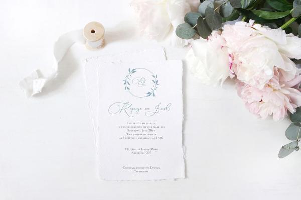 DIY Printable - Dusty Blue Monogram invite with torn edges