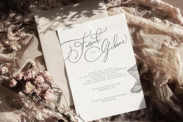 DIY Printable - Modern Two invite with light envelope on fabric
