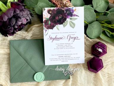 Sangria wedding invite with moss green envelope and wax seal