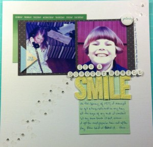 Scrapbook LO Gwen's Dorothy Hamill Haircut in 1977