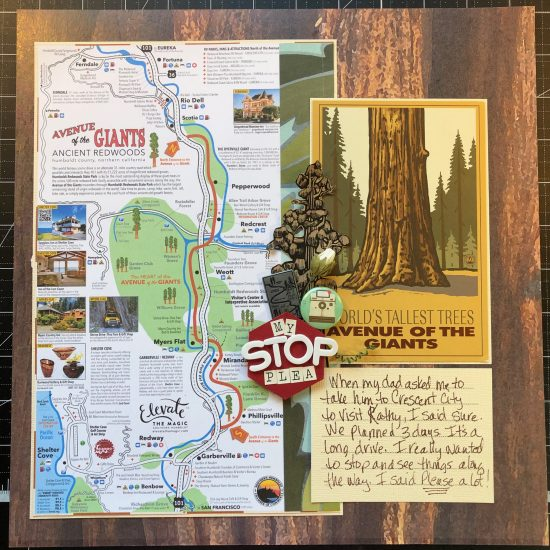 Scrapbook layout of a map of Avenue of the Giants