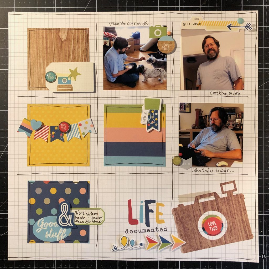 Scrapbook layout of John pretending to work from home.  I actually think he is working.  It's just really hard.