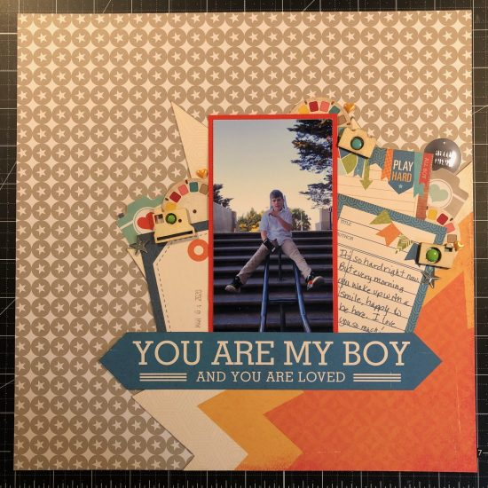 Scrapbook layout of my son at Coit Tower in San Francisco