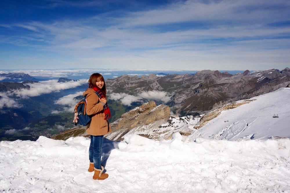 titlis, 鐵力士山, 瑞士自由行, 瑞士自助旅行, 瑞士纜車, 旋轉纜車, 英格堡, 山中湖泊, 下雪