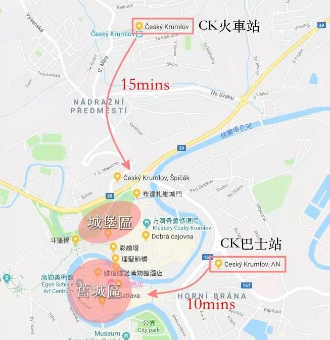 ck小鎮, 捷克, 庫倫洛夫交通, CK小鎮地圖