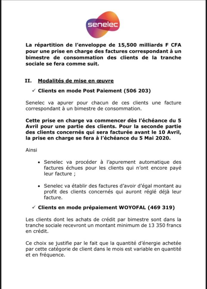 SENELEC : Modalités de mise en œuvre de la prise en charge par le Gouvernement des factures d'électricité des clients de la tranche sociale pour un montant de 15.5 milliards F Cfa  avec effet immédiat. (DOCUMENT)