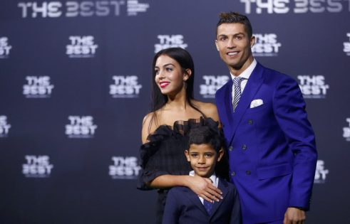 REFILE - ADDITIONAL CAPTION INFORMATION Football Soccer - FIFA Awards Ceremony - Zurich, Switzerland - 09/01/17. Real Madrid's Cristiano Ronaldo, his son Cristiano Ronaldo Jr and Georgina Rodriguez arrive at the ceremony.