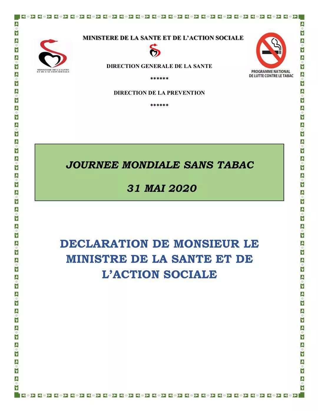 Le Sénégal célèbre la journée mondiale sans…tabac