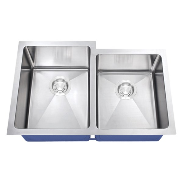 Dakota Signature Series 60/40 Micro Radius Offset Undermount 16 Gauge Stainless Steel Sink
