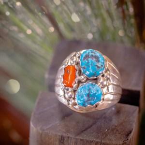 Sleeping Beauty & Coral Ring Sz. 10.5
