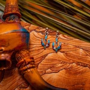 Inlay Cactus Earrings